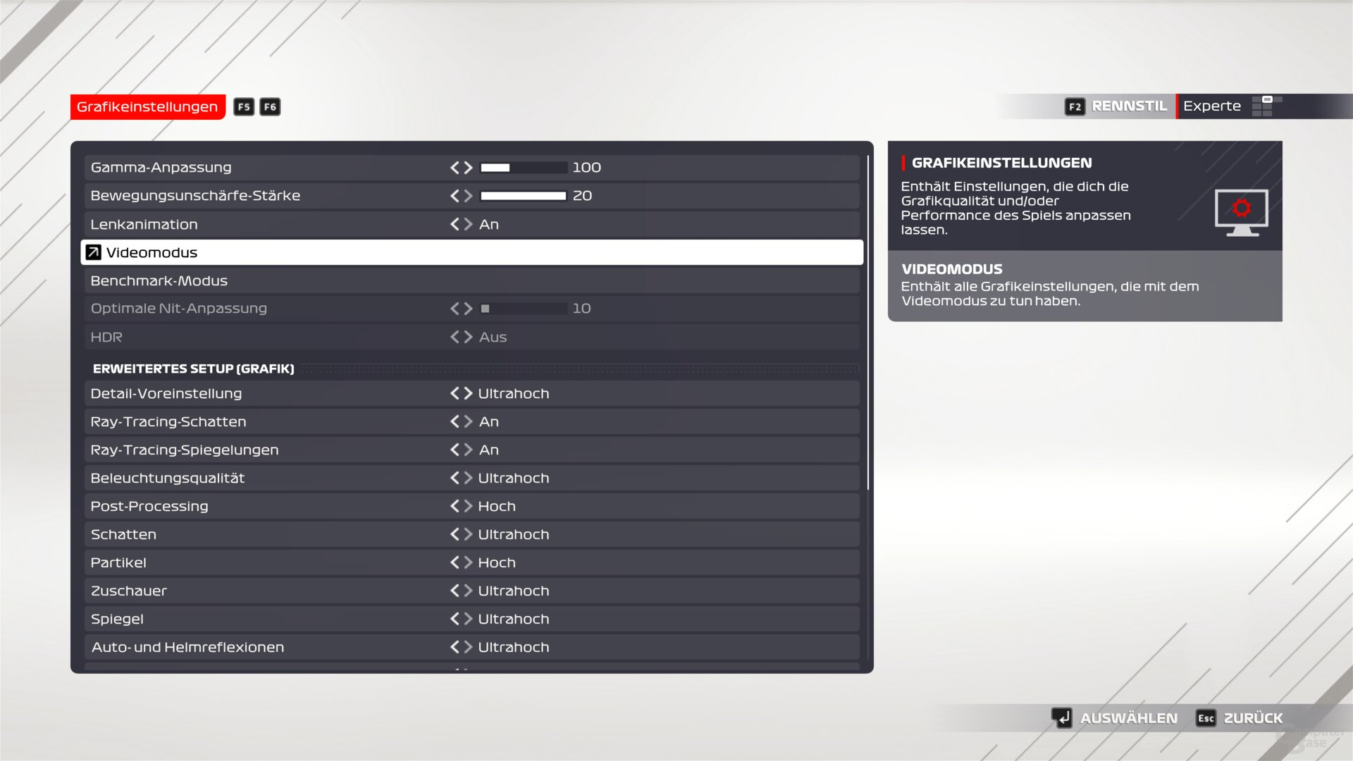 F1 2021 .  graphics menu of