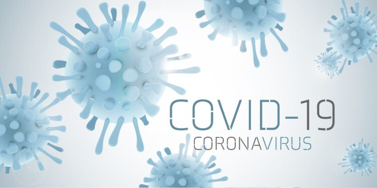Image of a virus labeled COVID-19.