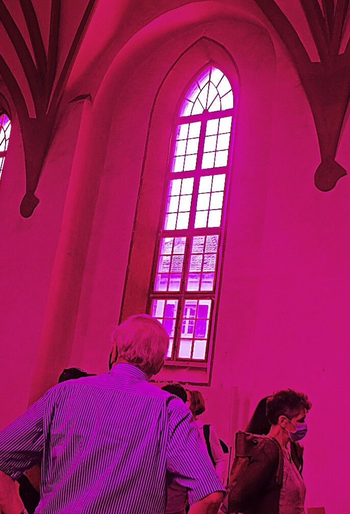 Old town church with AHA influence in magenta - Schöpfheim