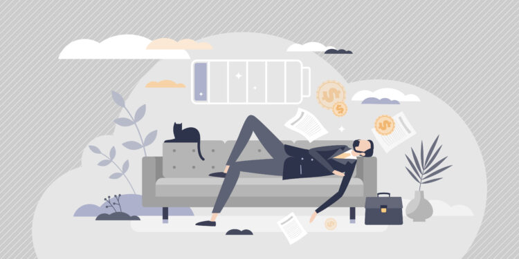 Comic-style illustration of a man in a suit taking a nap on a couch.