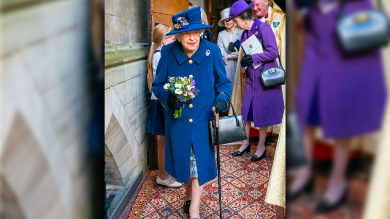 Queen Elizabeth walks on a stick - also honored with a walker - royals