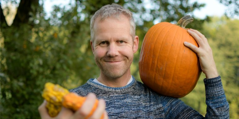 Looking for Pumpkins in a Hay Cart in Canada