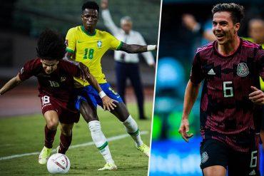 Vinicius (links) patzt mit Brasilien in Kolumbien. Mexikos Francisco Cordova trifft beim 3:0-Sieg gegen Honduras.